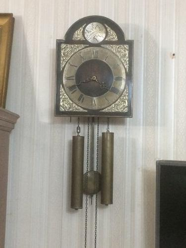 Reloj de pared antiguo tempus fugit c/ pesas y cadenas