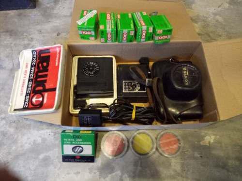 Lote fotografia 35mm camara konica lentes flash