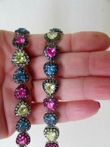 Antigua gargantilla eslabon corazon cristales multicolor