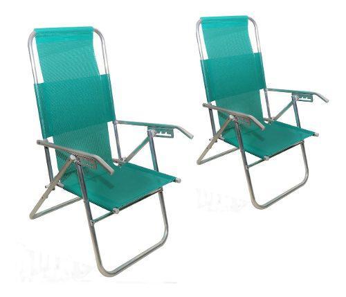 Reposera sillón aluminio alta reforzada promo 2 unidades