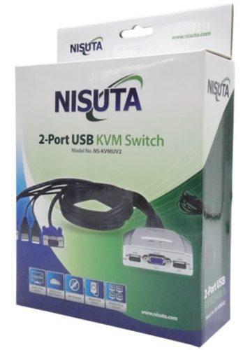 Kvm 2 puertos usb y ps2 nisuta monitor vga con cables