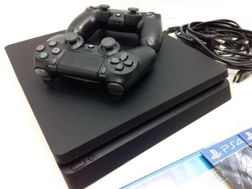 Ps4 slim 1tb + 4 juegos + 2 joysticks dualshock 4 + cables