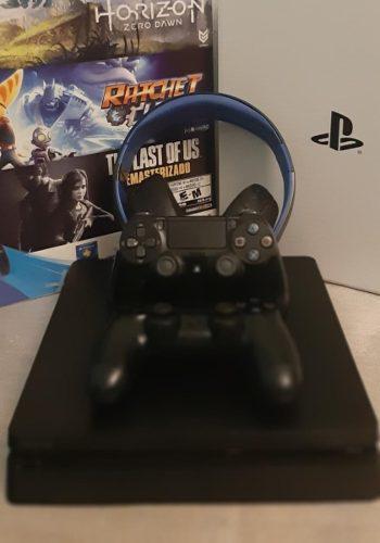 Ps4 slim + 2 joystick + juegos+ auricular permuto x pc gamer