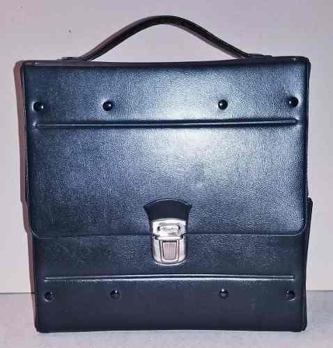 Antiguo estuche de cuerina negro porta cassettes 24 unidades
