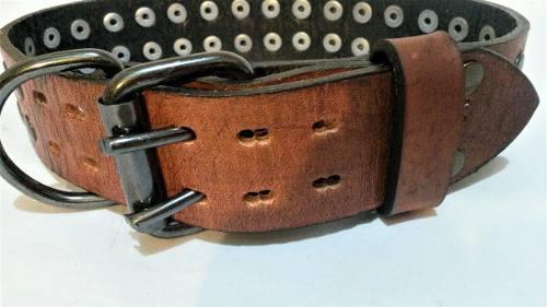 Collar cuero marron reforzado hebilla doble gancho