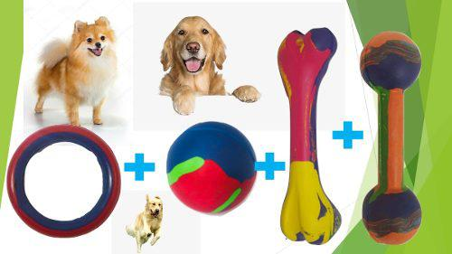 Kit combo juguetes de goma perros medianos mascotas 2