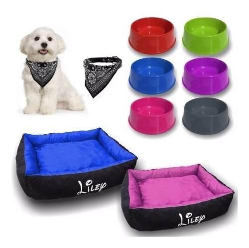 Moises perro cama +plato +collar pañuelo kit talle 3