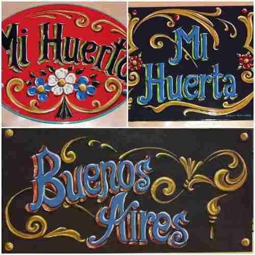 Cartel fileteado porteño pintado a mano con acrílico s/mdf