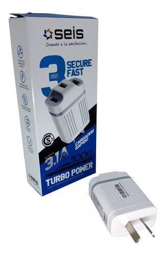 Cargador usb tipo c 3 puertos turbo carga rapida celular