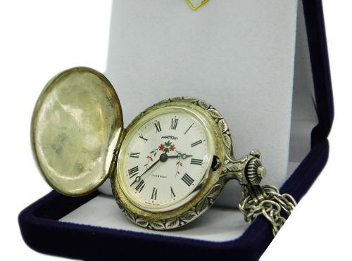 Reloj de bolsillo antiguo marca framont cadena de plata 900