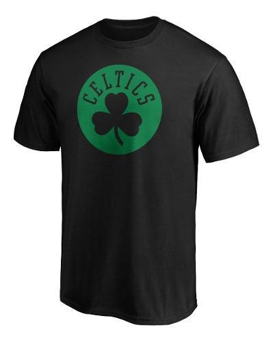 Remera basket nba boston celtics logo algodon negra