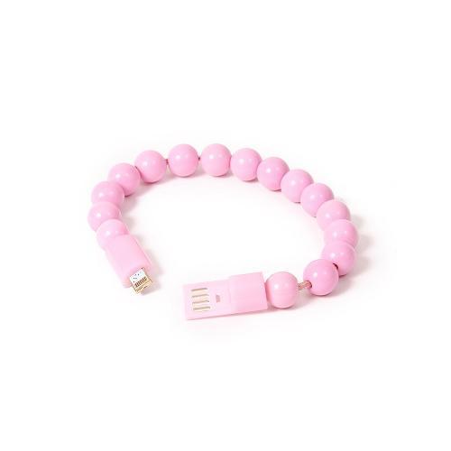 Cable cargador de celular tipo pulsera pelotitas v8 rosa