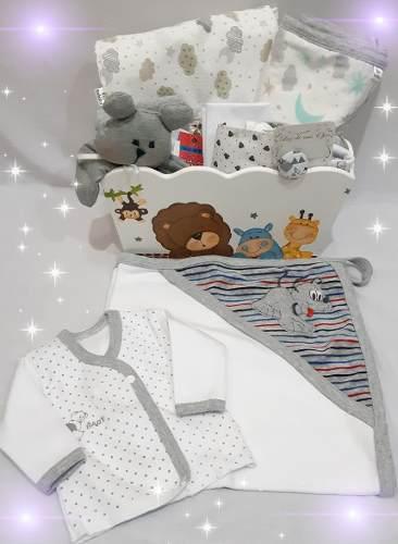 Caja Organiza Con Ajuar De Bebé,set Nacimiento 13 Productos