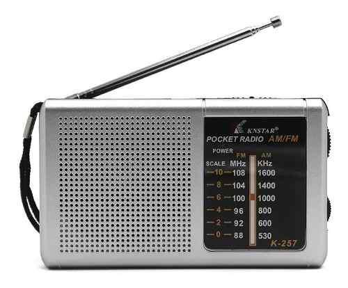 Radio portátil am fm knstar k-257 funciona con 2 pilas aa