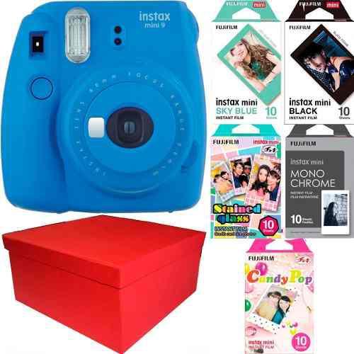 Caja Instax Mini 9 Azul Cobalto 50 Fotos Especiales Nueva