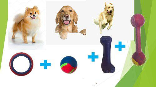 Kit combo juguetes de goma perros chicos mascotas