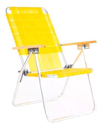 Reposera sillón plegable 5 pos. descansar. aluminio pulido!