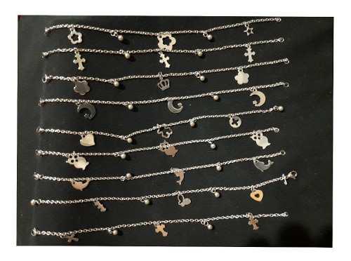 10 pulseras con dijes acero quirurgico mayorista bijouterie