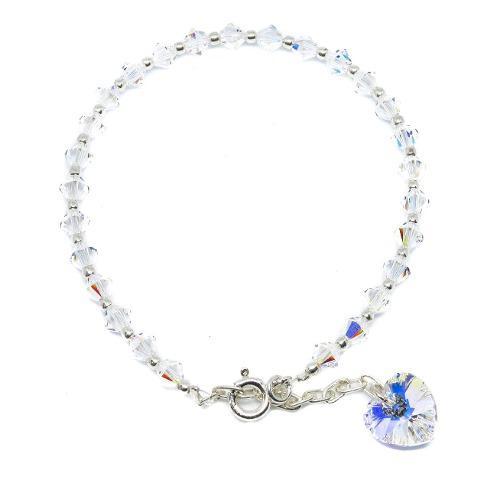 Pulsera cristal swarovski corazón genuino plata 925