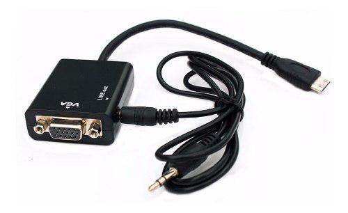 Conversor adaptador mini hdmi a vga audio tablet camara