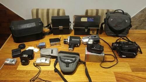 Lote de fotografia flash camara filmadoras bolsos