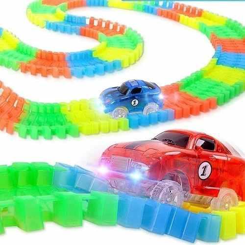 Pista de autos led luminoso magnific tracks 240 piezas lelab