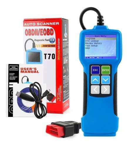 Escaner automotor profesional t70 lector de fallas obd2 eobd
