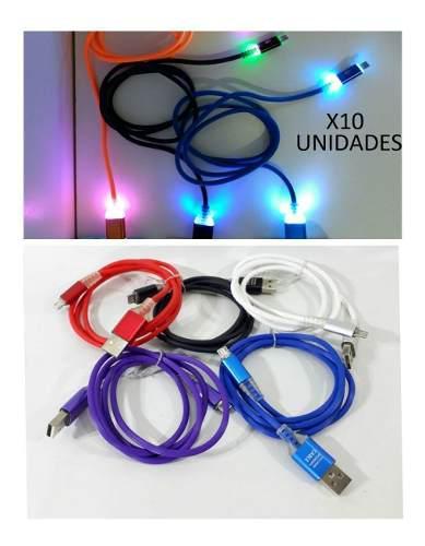 Combo x 10 cables usb v3/mini usb engomado con luz