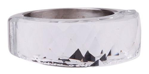Anillo blaque acero 316 cristal nirvana t/ swaroski 1/4