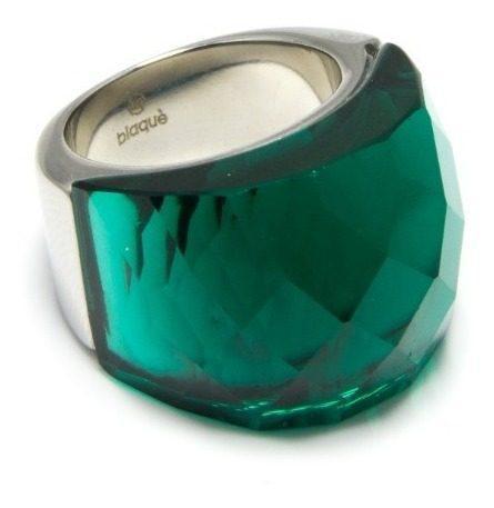 Anillo blaque acero 316 cristal nirvana t/ swarosky medio