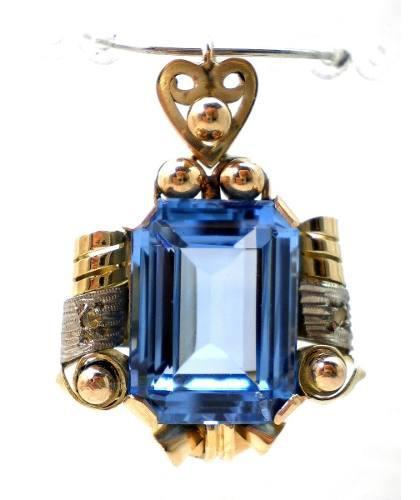 Antiguo Dije De Oro 18 Kt Platino Diamantes Y Topacio