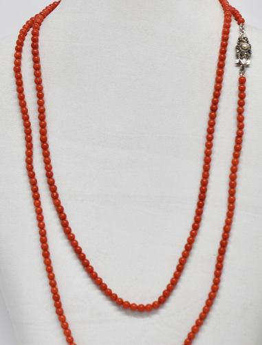 Collar Antiguo Corales Autenticos Dos Vueltas Plata 800