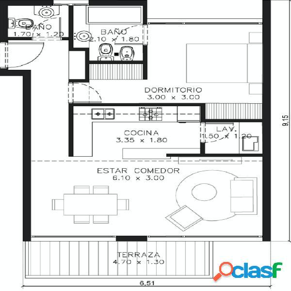 Residencias Olavarria TRUST, Departamento 2 ambientes edificio Premium 1