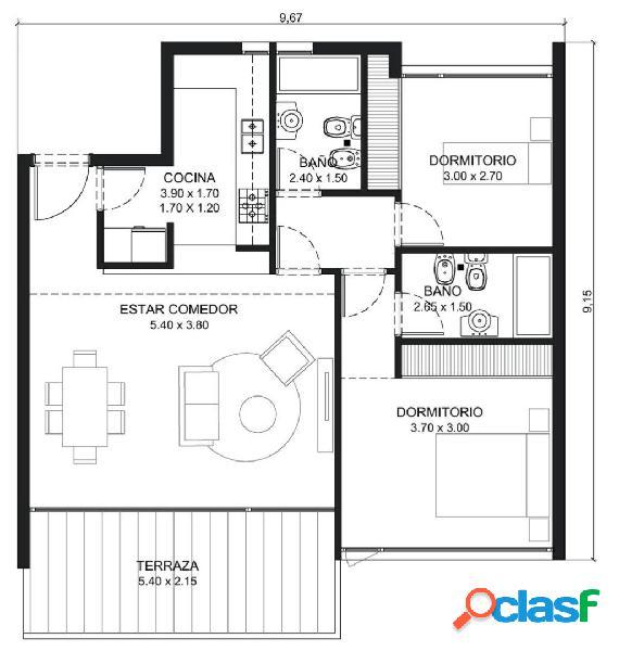 Residencias Olavarria TRUST, Departamento 3 ambientes edificio Premium 1