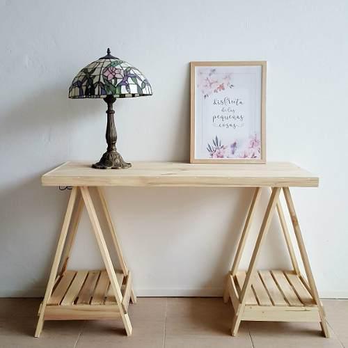 Escritorio de caballetes nordico mesa en madera 50x120cm