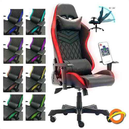 Silla gamer luz led luces rgb cambia colores reclinable