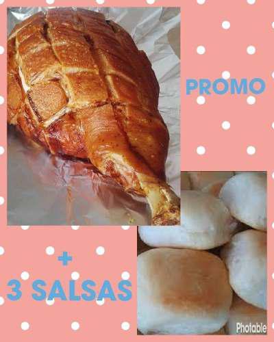 Pata de cerdo para eventos + 100 panes + 3 salsas