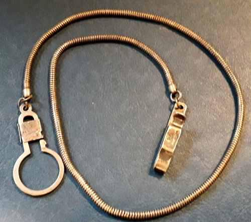 Antigua cadena para reloj de bolsillo plata 925 27 gr. 50 cm