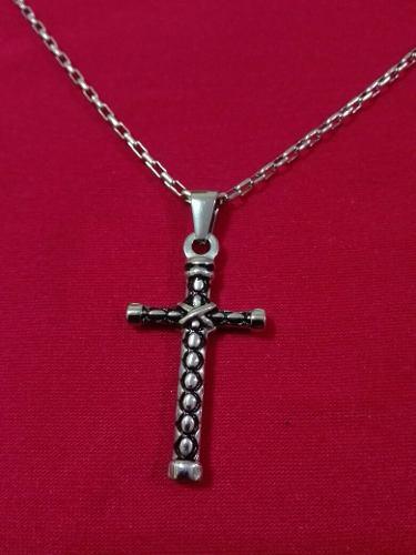 Dije Cruz Hombre Antigua Acero Quirúrgico Cadena Crucifijo
