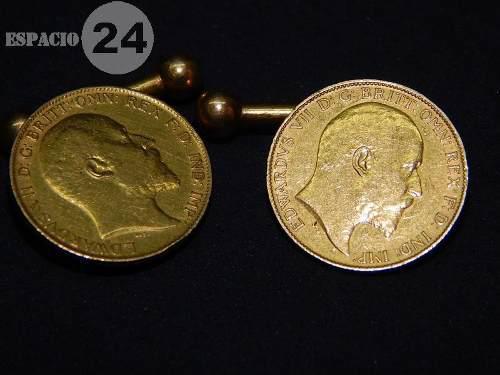 Par De Gemelos De Oro 22k Con Dos Soberanos De Oro 1902 Uk