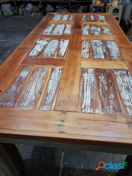 Mesa rustica madera demolicion