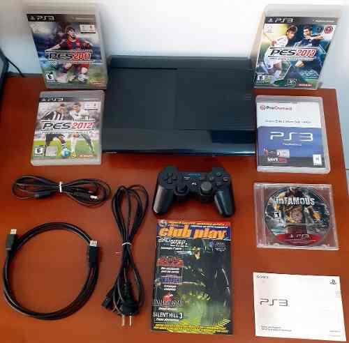 Ps3 super slim, 250 gb, 1 joystick, 5 juegos, hdmi, revista