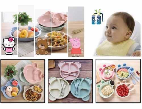 Set de plato y cubiertos bebe diviciones bebe infantil forma