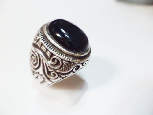 Anillo plata agata onix negro macizo mod indra premium