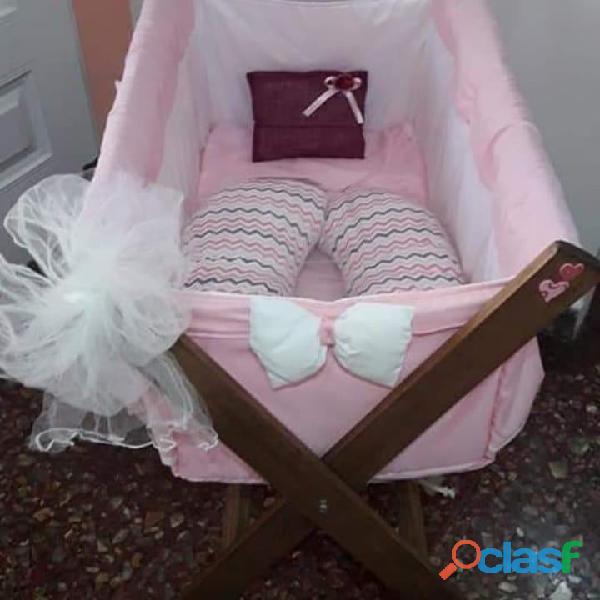 Catre cuna bebe alexis calidad premium con almohadon/ tul/sabanitas