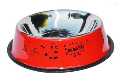 Comedero bebedero de acero grande estampado para perros n°4