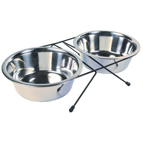 Comedero doble perros gatos acero inoxidable bebedero 1,8l