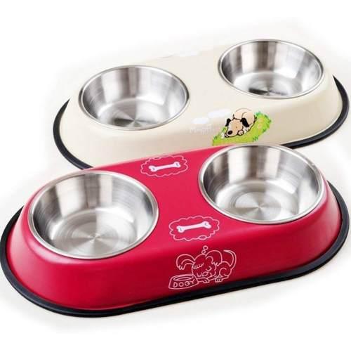 Comedero doble plato extraible mascota perro gato grande