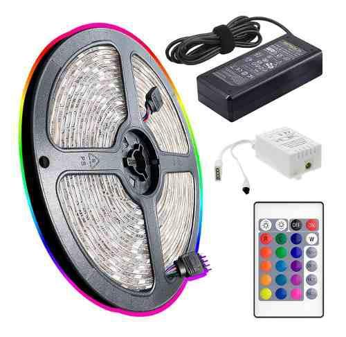Kit completo tira luces led rgb luz 5050 decoración gamer +