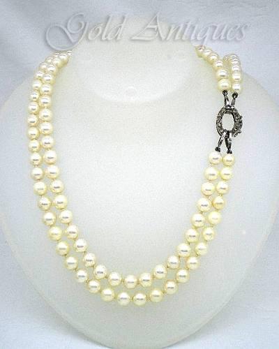 Collar de perlas naturales broche de platino goldantiques